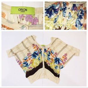 Orion London Floral Boho Scoop Neck Peasant Top